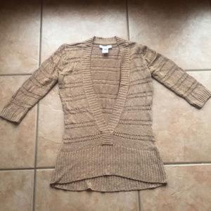 WHBM Knit Gold Eyelet V-Neck Sweater Size Medium